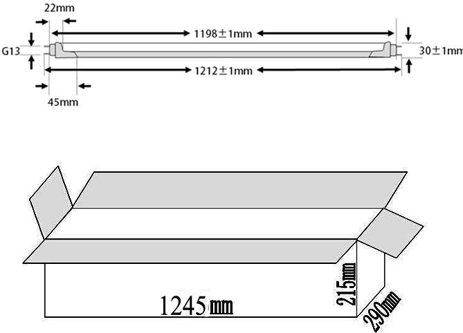 18W led tube lighting packing