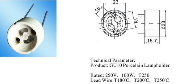 GU10 lamp holder diagram